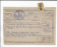 1945 - PRISONNIERS DE GUERRE, DEPORTES ET REFUGIES - TELEGRAMME OFFICIEL CENTRE LIBERATION DES PRISONNIERS De L'ALLIER - Postmark Collection (Covers)