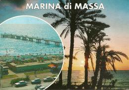 Marina Di Massa (Massa Carrara) Vedute: Spiaggia E Pontile, Lungomare Al Tramonto - Massa