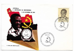 ANGOLA 1976 ANNIVERSARY OF INDEPENDENCE HISTORY PRESIDENT NETO 1 VALUE ON FIRST DAY COVER FDC SPD - Angola