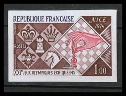 France N°1800 Jeux Olympiques échec Echecs Chess Nice 1974 Cote 155 Non Dentelé ** MNH (Imperforate) - Francia