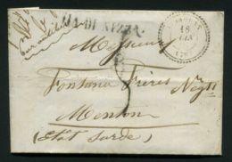 LETTRE DE VIDAUBAN DU 18 JUIN 1859 POUR MENTON , A VOIR . - 1849-1876: Klassik