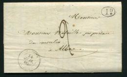 LETTRE  DE  CAHORS    DU  14  JUILLET  1845  POUR ALBAS - Marcophilie (Lettres)