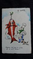 CPA CPSM 1 AVRIL POISSON GEANT CUISINIER CHIEN PREPAREZ CUISSON - 1° Aprile (pesce Di Aprile)