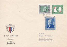 Brief  Mi: 447 + 464 + Caritas Lugano. 464= 1 Tag Vor ET. Pro Ticino Sezione Di Basilea - Lettres & Documents