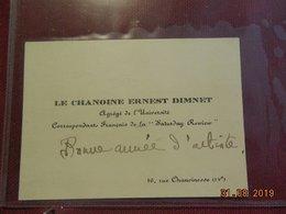 """Carte De Visite - Paris 4è - Le Chanoine Ernest Dimnet - """"Saturday Rewiew"""" - 16, Rue Chanoinesse - Cartes De Visite"""