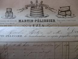 UZES FACTURE ILLUSTRÉE BRASSERIE DU COMMERCE MARTIN PELISSIER 1877 - France