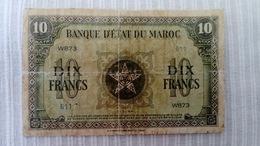 MAROC COLONIAL 1944 RARE BILLET DE 10 FRANCS - Marocco