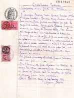 Designation D'un Fondé De Pouvoir Pour Remplaçant De Caisse à Plouneour Men (29), Timbre Fiscal Vieux Rose De 40 Et 1 Fr - Documentos Antiguos