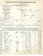 Facture & Traite 1923 / 70 Faïencerie De CLAIREFONTAINE Par Polaincourt  / L. GRAVES Suc Vve GRAVES / 70 LURE Choux - 1900 – 1949