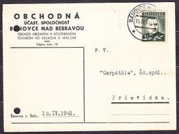 SLOVAKIA 1941, Company Postal Leaflet ( TRADING COMPANY - BANOVCE NAD BEBRAVOU ), Posted To PRIEVIDZA. - Slovaquie