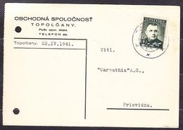 SLOVAKIA 1941, Company Postal Leaflet ( TRADING COMPANY - TOPOLCANY ), Posted To PRIEVIDZA. - Slovaquie