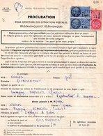 Procuration Pour Effectuer Des Operations Postales Kerneven (29), 3 Timbres Fiscaux 2 Bleu De 1 Franc Et 0.50 Rose - Documentos Antiguos