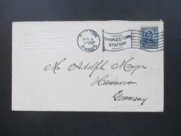 USA 1904 Brief Von Stowell & Co Manufacturing Chemists Charlstow Mass. - Hannover Mit Flaggenstempel - Briefe U. Dokumente