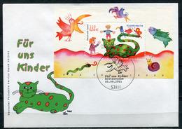 """Germany 2001 First Day Cover FDC Mi.Nr.2212,Bloch 55 """"Für Uns Kinder,Katze,Fisch,Vögel,Schnecke""""1 FDC - Puppen"""