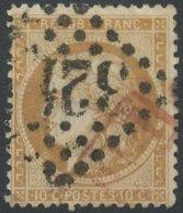 [56181]TB//O/Used-c:85e-N° 36, 10c Bistre-jaune Obl GC Et 'PD' Encadré En Rouge - 1870 Siège De Paris