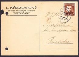 SLOVAKIA 1943, Company Postal Leaflet ( L. KNAZOVICKY, GROCERY STORE - TOPOLCANY ), Posted To PRIEVIDZA. - Slovaquie