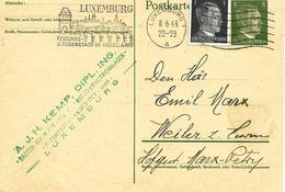 Luxemburg, Flamme Sur Entier Postal 1943 - Occupation 1938-45