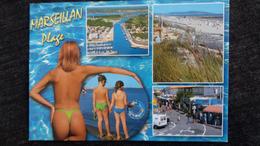 CPM PIN UP JEUNE FEMME A MOITIE NUE NU MARSEILLAN PLAGE ENFANTS VUES ED AS - Pin-Ups