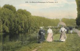 CARTE POSTALE ORIGINALE ANCIENNE : LA MARNE DE CHAMPIGNY A LA VARENNE  ANIMEE MARNE (51) - Champigny