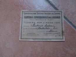 Tessera CGIL Camera Confederale Del Lavoro Provincia Milano Anno 1946 Con Bollini - Old Paper