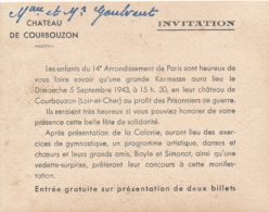 1943 Invitation KERMESSE COMITÉ D'ENTRAIDE PRISONNIERS DE GUERRE - COURBOUZON LOIR ET CHER - Documents Historiques