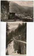 LOT 2 Cartes - LUCHON Mail De Soulan Chemin De Fer Crémaillère Vue Luchon & Crémaillère Viaduc Du Mail Trinquat (Train) - Luchon