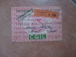 Tessera CGIL Camera Confederale Del Lavoro Provincia Confederterra Anno 1950 - Unclassified