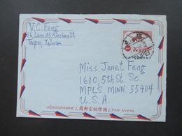 China / Taiwan Taipei - USA Aerogramme / Luftpostleichtbrief 1968 Mit Viel Text / Inhalt - 1945-... Republik China