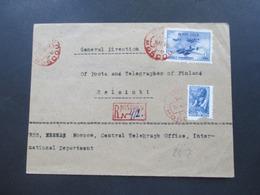 1945 Tag Der Luftwaffe Sowjetische Kampfflugzeuge Einschreiben Rote Stempel Moscow R-Zettel Gestempelt Rot Nach Helsinki - Briefe U. Dokumente