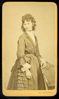BUDA 1870. Ca. Heller József : Ismeretlen Hölgy Visit Fotó  /  József Heller: Unknown Lady Visit Photo - Photographs