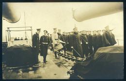 I. VH  Hadihajó II. Vilmos Császár Szemlét Tart, Fotós Képeslap érdekes Hátoldali Leírással   /  WW I. Battleship Empero - Warships