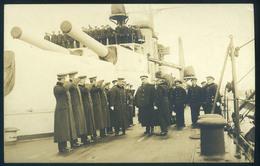 I. VH  Hadihajó II. Vilmos Császár Szemlét Tart A Viribus Unitis-on Fotós Képeslap érdekes Hátoldali Leírással  /  WW I - Warships