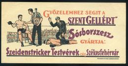 SZÁMOLÓ CÉDULA  Régi Reklám Grafika , SPORT Szent Gellért Sósborszesz Székesfehérvár  /  BAR TAB Vintage Adv. Graphics - Advertising
