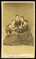 1860. Cca. Hölgyek Sakkoznak, Ritka Visit Fotó  /  Ladies Playing Chess Rare  Visit Photo - Otros