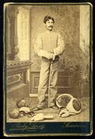 SZATMÁR 1910. Ca. Berky Dezső,  SPORT Vívás , érdekes, Ritka Cabinet Fotó  /  SPORT Fencing Intr Rare Cabinet Photo - Otros