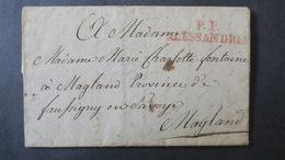 Lettre Marque Postale PP Alessandria 1819 Avec Texte Pour Magland - Italie