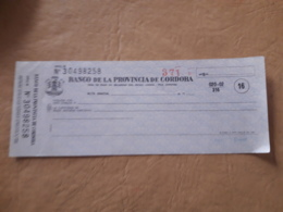 Argentine, Chèque De Banque De Cordoba - Chèques & Chèques De Voyage