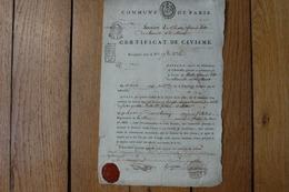Commune De Paris Certificat De Civisme 1793  Section  Du Theatre Français Ditte  De Marseille Et De Marat  Vignette - Documenti Storici