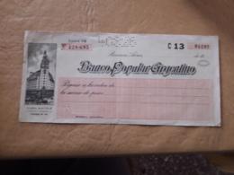 Argentine, Chèque De Banque Populaire - Chèques & Chèques De Voyage