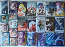 157 Space Badge Button Pins Set (29 Pins). Space Dogs Laika, Belka & Strelka, Chernushka, Zvezdochka - Spazio