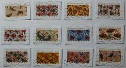 TISSU AFRIQUE - INSPIRATION AFRICAINE / 12 Timbres France 2019 - SERIE COMPLETE - Oblitérés Sur Fragments - French Stamp - Art