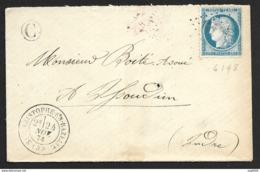 Indre-Enveloppe-N°60-St Christophe En Bazeille - Marcophilie (Lettres)