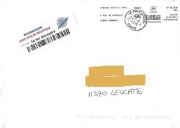Anomalie Affranchigo 80 Gr Lettre Verte Sur LR AR Vendres Béziers PPDC Varsovie Cachet Manuel Numérique Sans Taxe - Marcofilie (Brieven)
