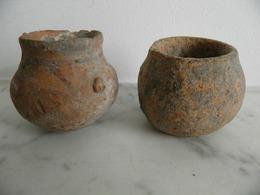Lot De 2 Petits Vases Antiques, Afghanistan - Archeologia