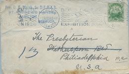 1923   BERMUDA , SOBRE CIRCULADO , HAMILTON - PHILADELPHIA , YV. 77 , 2 1/2 D. , BRITISH EMPIRE EXHIBITION - Bermudas