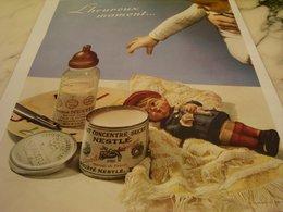 ANCIENNE PUBLICITE HEUREUX MOMENT  LAIT SUCRE NESTLE 1935 - Afiches