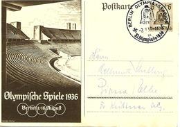 Olympiade De Berlin, Cachet Stadion Sur Entier Postal Illustre 1936 - Summer 1936: Berlin