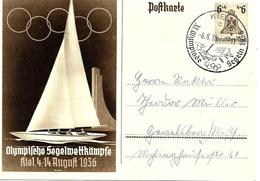 Olympiade De Berlin, Cachet Kiel Sur Entier Postal Illustre 1936 - Summer 1936: Berlin