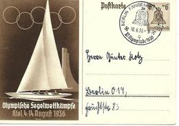 Olympiade De Berlin, Cachet Fahrbares Sur Entier Postal Illustre 1936 - Summer 1936: Berlin