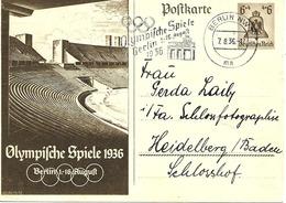 Olympiade De Berlin, Flamme Sur Entier Postal Illustre 1936 - Summer 1936: Berlin